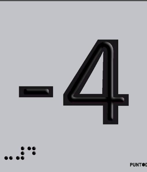 Número -4 en aluminio