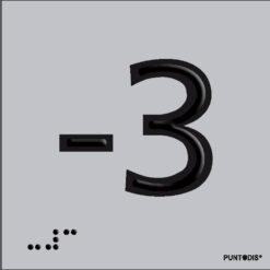 Número -3 en aluminio
