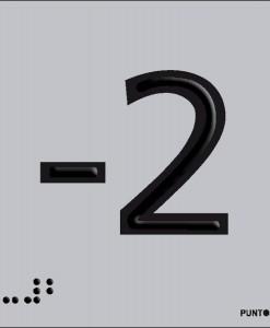 Número -2 en aluminio
