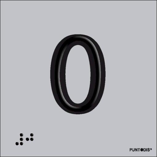 Número 0 en aluminio