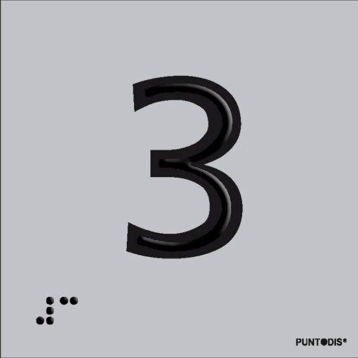 Número 3 en aluminio