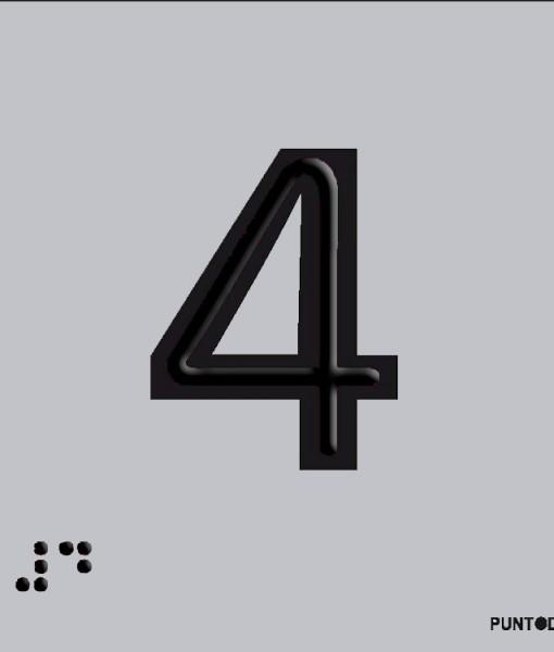 Número 4 en aluminio