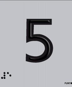 Número 5 en aluminio