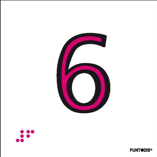 Número 6 en aluminio