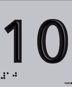 Número 10 en aluminio