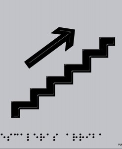 Pictograma escaleras arriba en aluminio