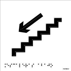 Placa Escaleras abajo en braille y altorrelieve