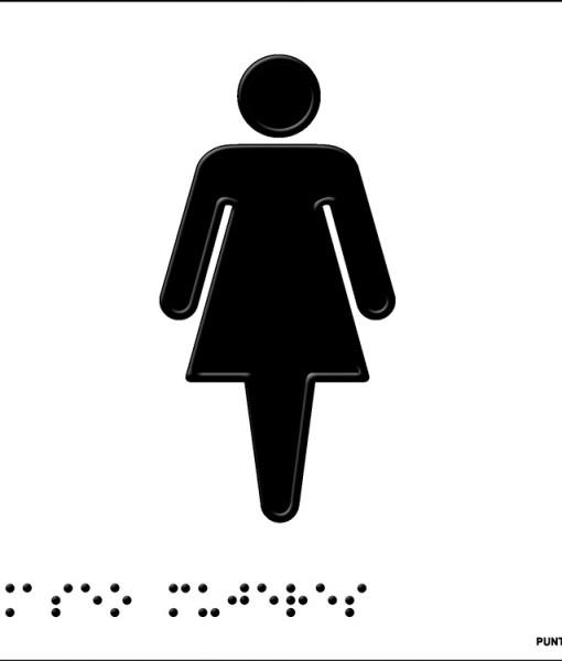 Pictograma aseo mujeres modelo 1 en aluminio