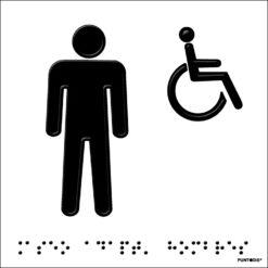 Placa aseo adaptado hombre en braille