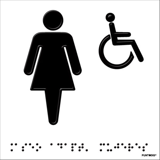 Señal aseo mujer con braille