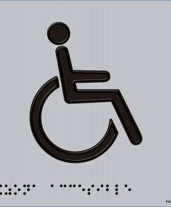 Pictograma Acceso silla de ruedas en aluminio