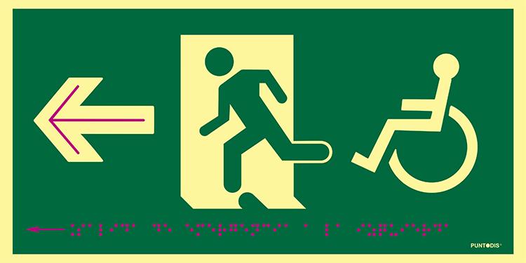 Pictograma salida de emergencia a la izquierda con silla de ruedas, en PVC
