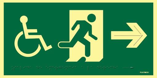 Pictograma salida de emergencia a la derecha con silla de ruedas, en PVC luminiscente