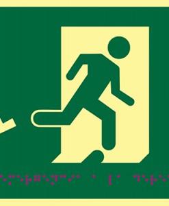 Pictograma salida de emergencia a la derecha con silla de ruedas, en PVC