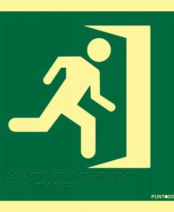 Señalización de evacuación accesible.