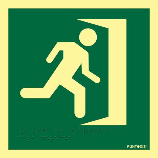 Pictograma Salida de emergencia a la derecha luminiscente con braille