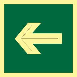 Placa fotoluminiscente con pictograma flecha diagonal. Placa accesible que incorpora altorrelieve centrado en el trazo en la flecha.