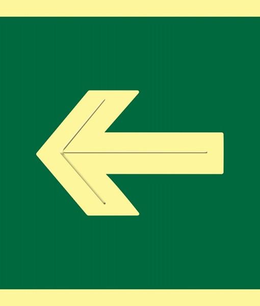 Pictograma señal emergencia  y evacuación flecha luminiscente