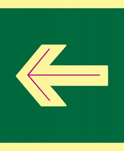 Pictograma señal emergencia flecha horizontal. Luminiscente