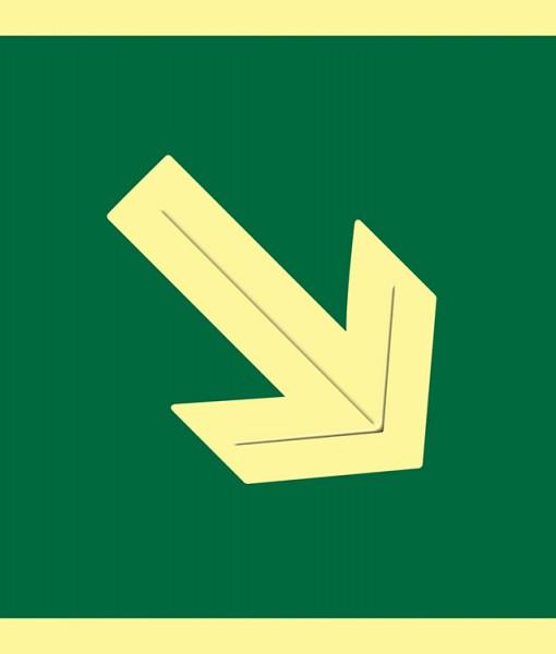 Pictograma señal emergencia  y evacuación  flecha diagonal luminiscente