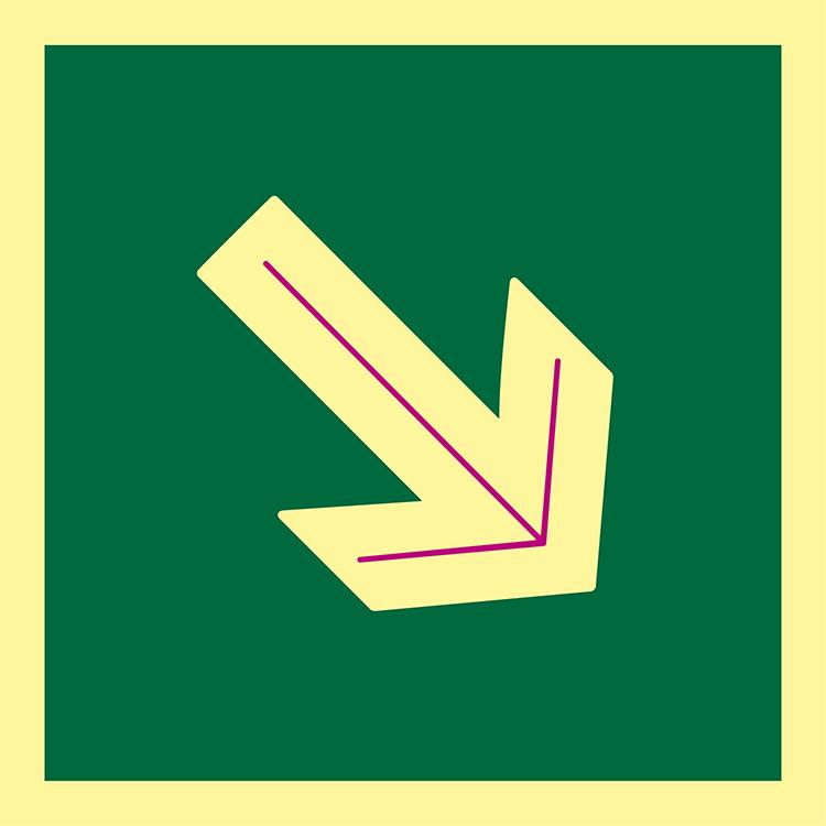 Pictograma señal emergencia y evacuación flecha diagonal. Luminiscente