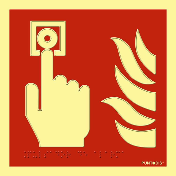 Pictograma señal emergencia y evacuación Pulsador alarma. Luminiscente