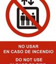 Pictograma señal emergencia y evacuación no utilizar. Luminiscente