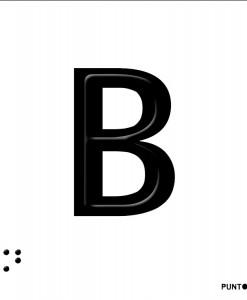 Letra B en aluminio