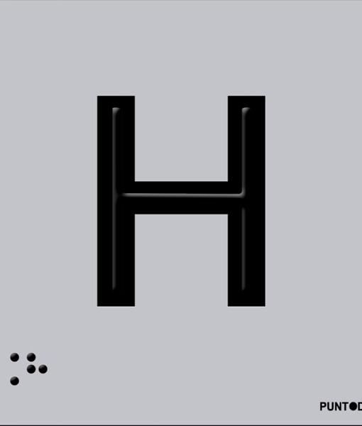 Letra H en aluminio
