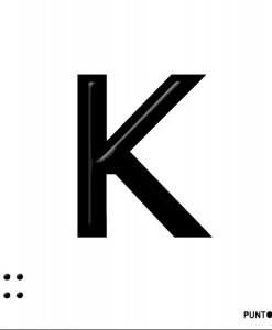 Letra K en aluminio