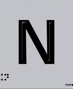 Letra N en aluminio