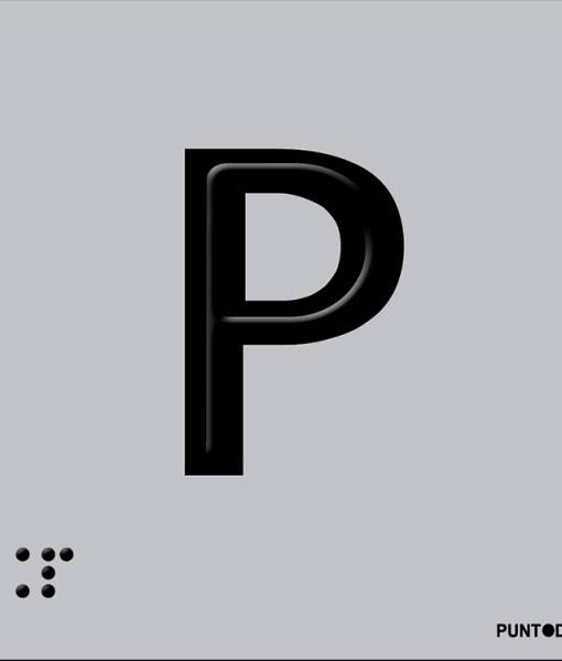 Letra P en aluminio