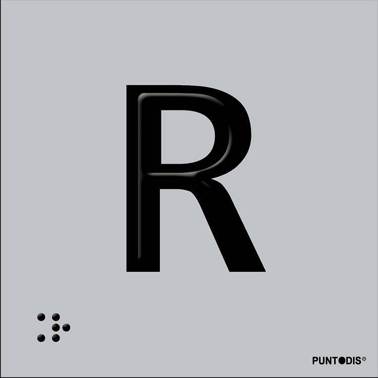 Letra R en aluminio