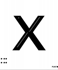 Letra X en aluminio