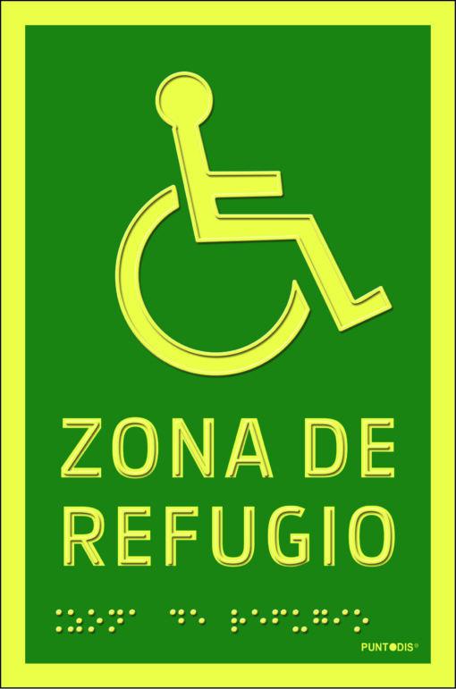 señal con braille zona de refugio