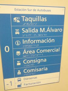 Panel informativo Estación autobúses sur de Madrid