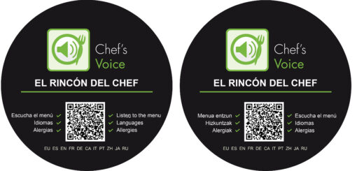 Vinilo adhesivo restaurante y QR - chef's voice