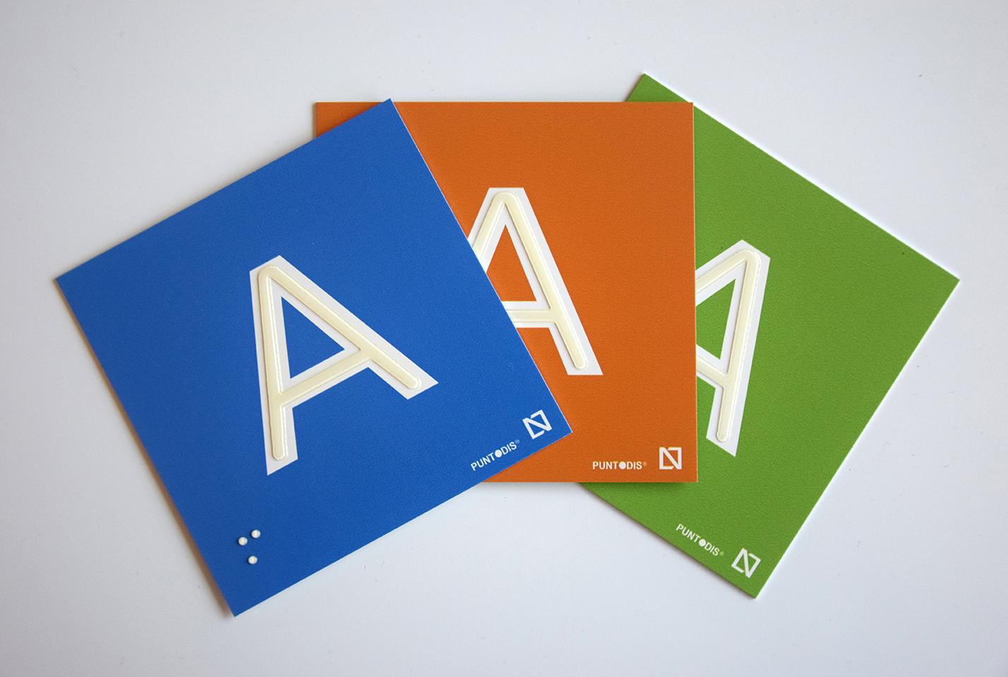 placas letras colores braille