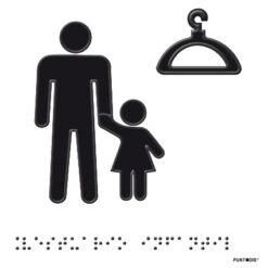 Placa Vestuarios Infantil en braille y altorrelieve