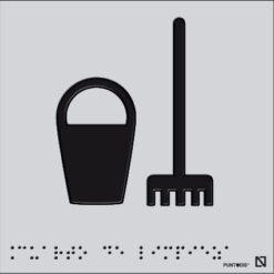 Placa edificación limpieza braille